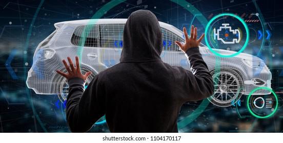View of a Hacker Man holding an smartcar concept  3d rendering