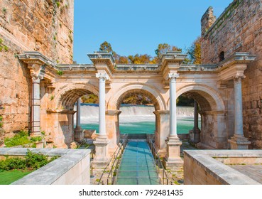 View of Hadrian's Gate in old city of Antalya with manavgat waterfall - Turkey