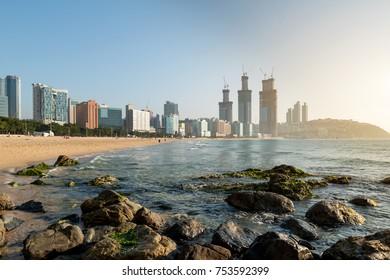 View of Haeundae beach. Haeundae beach is Busan's most popular beach in South Korea