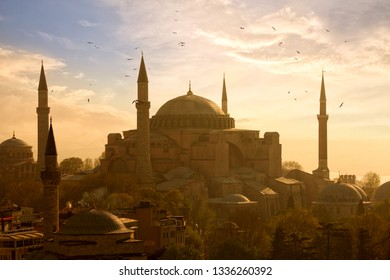 View of Haghia Sophia or Aya Sofya at sunset in Istanbul, Turkey