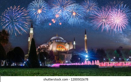 View of the Hagia Sophia at night with fireworks in Istanbul, Turkey