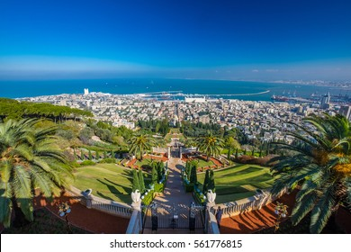 The view of Haifa city harbour from the Carmel