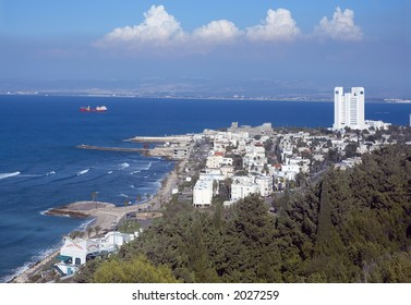 view of Haifa from mountain Carmel, Israel, Middle East