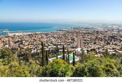 View of Haifa, Haifa port and Haifa Bay from Mount Carmel. Israel