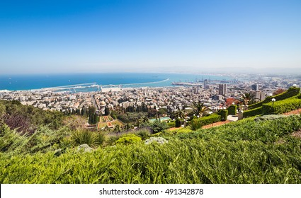 View of Haifa, Haifa port and Haifa Bay from Mount Carmel. Israel