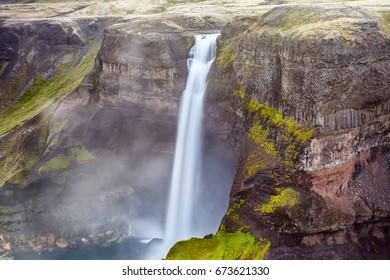 View of Haifoss waterfall in Iceland in Landmannalaugar canyon