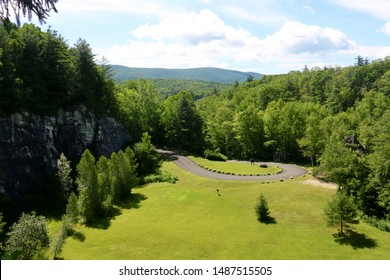 View of a hairpin turn on a parkway in Natural Bridge State Park in North Adams, Massachusetts