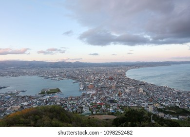 The view of Hakodate, Japan from Mt Hakodate .