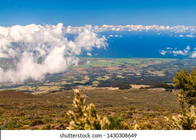 View from the  Haleakala's volcanic crater on the top to  Maui Island.
