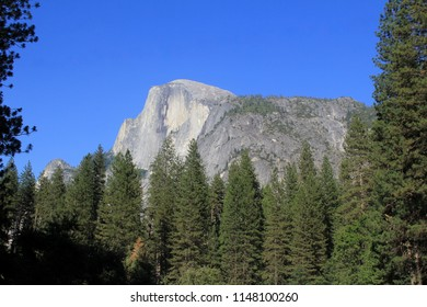 A view of Half Dome peak in Yosemite National Park