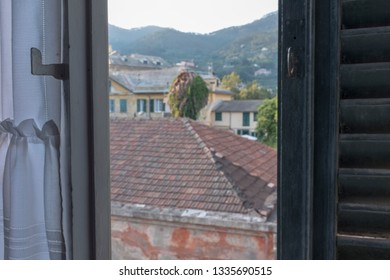 a view from a half opened window
