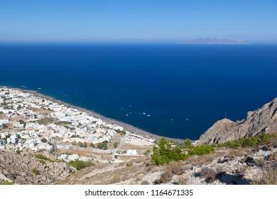 View from halfway up to the Profitis Ilias down to Kamari, Santorini.