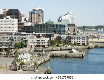 The view of Halifax city promenade with a downtown in a background (Nova Scotia, Canada).