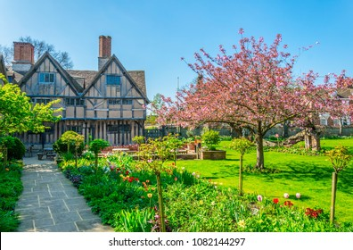 View of the Hall's Croft gardens in Stratford upon Avon, England