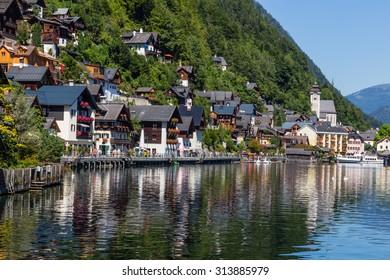 View of Hallstatt village in Alps, Austria
