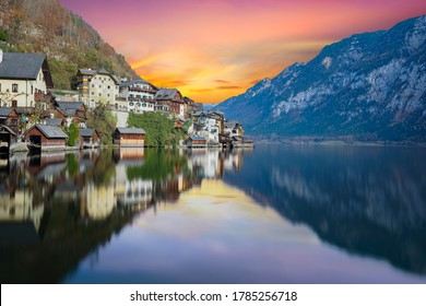 View of Hallstatt village from the lakeside with twilight sky in Austria - Shutterstock ID 1785256718