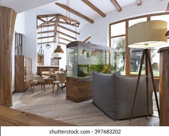 View from the hallway into the living-room in the loft style. A large aquarium with a chair and a floor lamp in the living room. Wooden beams on the ceiling. 3D render.