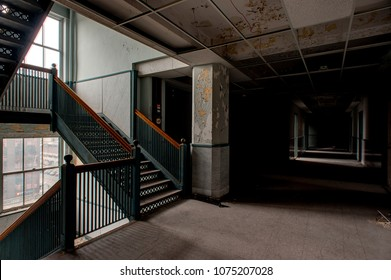 A view of a hallway and staircase inside the formerly abandoned Stambaugh Building in downtown Youngstown, Ohio.