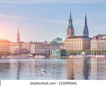 View of Hamburg cityscape from water