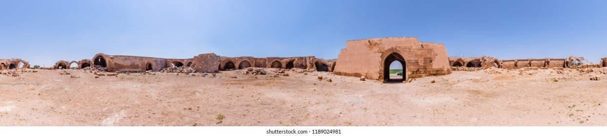 View of Han El Ba'rur,a Seljuk caravanserai in Harran,Sanliurfa,Turkey.