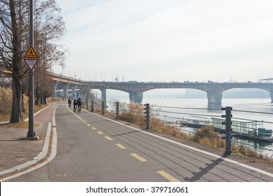 View of Han River near by Seoul Forest in Seoul