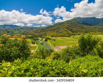 View from Hanalei Valley Overlook, on Kauai, Hawaii.