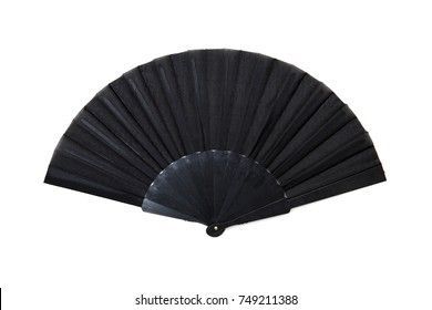 View at handheld fan isolated on the white background