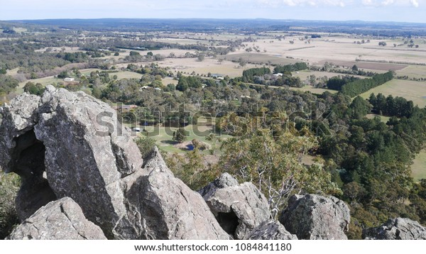 View from Hanging Rock, near Woodend in central Victoria, Australia. August 2017.