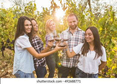 View of happy young female friends standing in circle and toasting with red wine in glasses in the vineyard