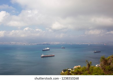 View from the harbor in Algeciras over the sea