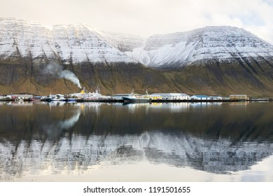 View to the harbor area at the town of Isafjordur in northwest Iceland.
