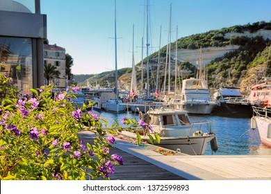 View to the harbor of Bonifacio, Corsica, France