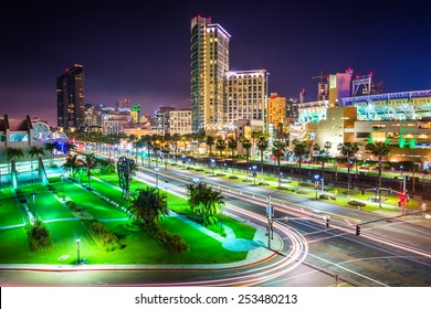 View of Harbor Drive and skyscrapers at night, in San Diego, California.