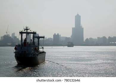 View from the harbor at the heavily polluted Kaohsiung City skyline