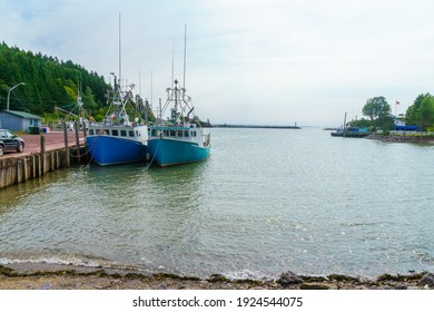View of the harbor at high tide, in St. Martins, New Brunswick, Canada
