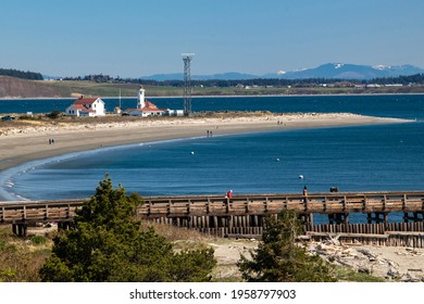View of the harbor and lighthouse in Port Townsend, Washington