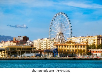 "View from the Harbor of Malaga, Spain, Looking towards the Ferris Wheel Called ""Malaga Big Wheel"" (""Noria de Malaga"")"