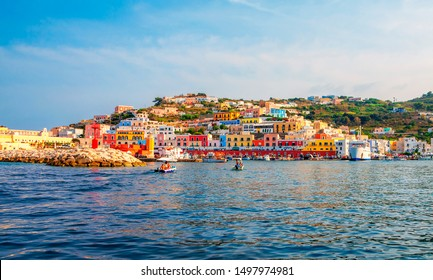 View of the harbor and port at Ponza, Lazio, Italy. Ponza is the largest island of the Italian Pontine Islands archipelago.