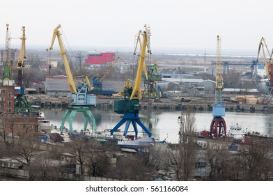 The view of the Harbor, river port from the other side of the river, many portal crane.