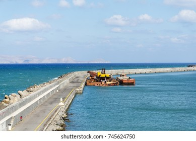 View of Harbor spit on the island of Crete in Heraklion.