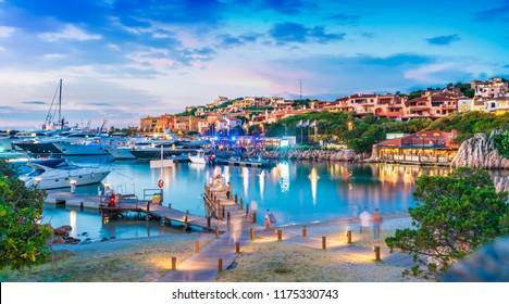 View of harbor and village Porto Cervo, Sardinia island, Italy