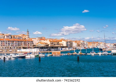 View of the harbor with yachts, Sete, France. Copy space for text