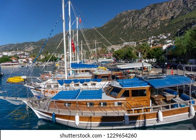 View of the harbour with boats of the town of Kaş(Kas). Turkey, Kaş.
