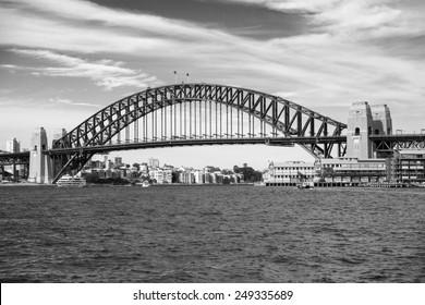 View of the Harbour Bridge, an iconic landmark in Sydney, Australia.