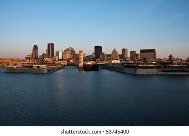 View of Harbour and Downtown Montreal Background