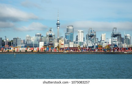 View of the harbour, the ocean and Auckand city, in north island, New Zealand