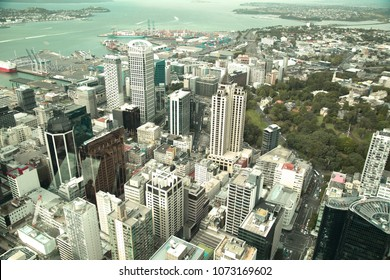 View of the harbour, the ocean and Auckland city, in north island, New Zealand