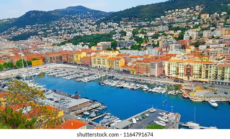 View of the harbour (port) from the Castle Hill, French Riviera. Nice, Cote d'Azur. France