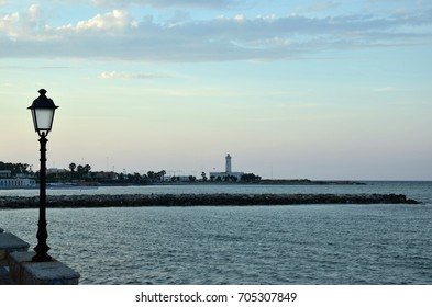 View of the harbour in San Cataldo near Lecce, Italy