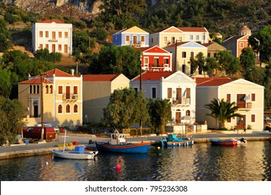 View of the harbour of the town of Kastelorizo, Kastelorizo island, Dodecanese islands, Greece.